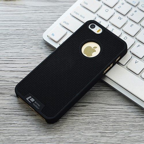 LOOPEE plastic gaas patroon hoesje iPhone 5 / 5s / se zwart