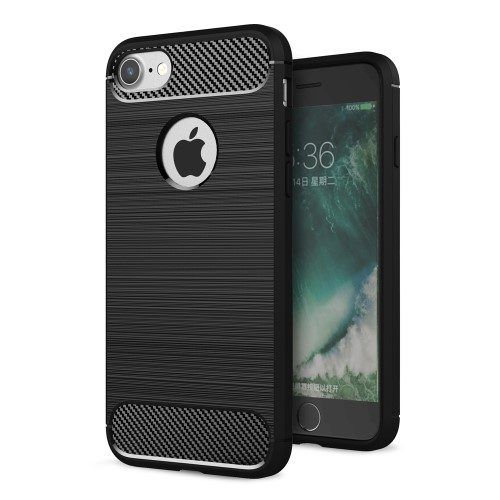 Brushed Carbon fiber hoesje iPhone 7 zwart