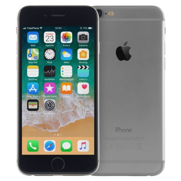Refurbished iphone iPhone 6 space grey voor en achterkant