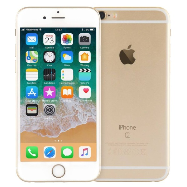 Refurbished iPhone 6s goud voor en achterkant