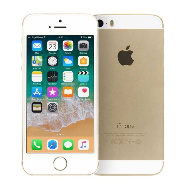 Refurbished iPhone 5s voor en achterkant goud
