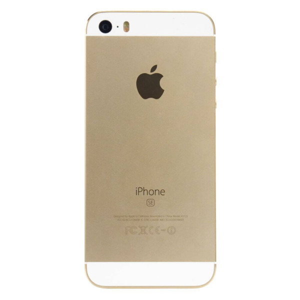 Refurbished iPhone SE van de achterkant goud