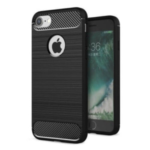 iPhone 8 hoesje brushed carbon fiber zwart