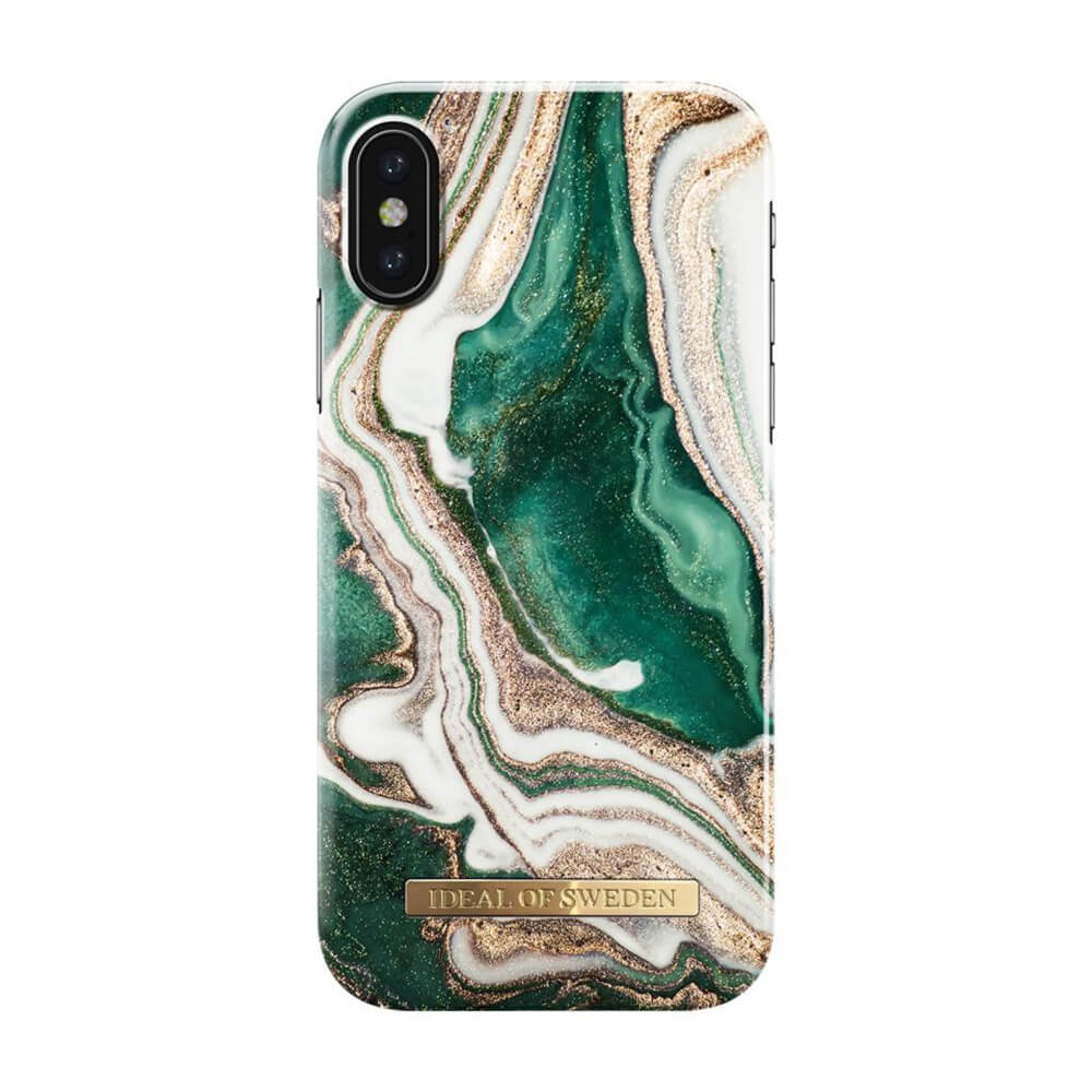 Afbeelding van iDeal of Sweden fashion case Jade Marble iPhone X goud